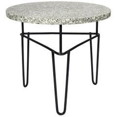 Midcentury Iron and Terrazzo Side Table