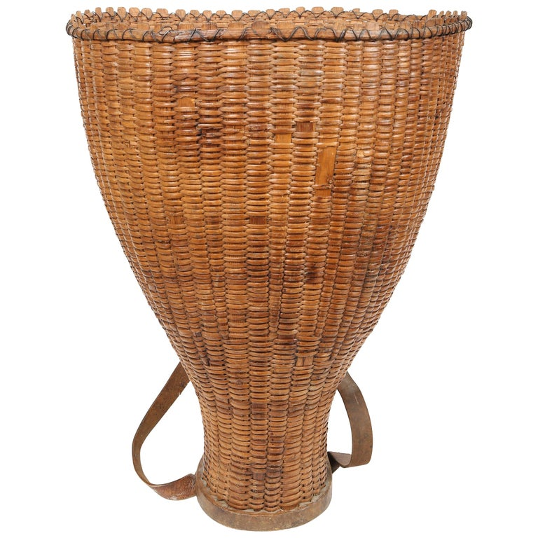 Large Hand Woven French Grape Pickers Basket-France, 19th c. For Sale
