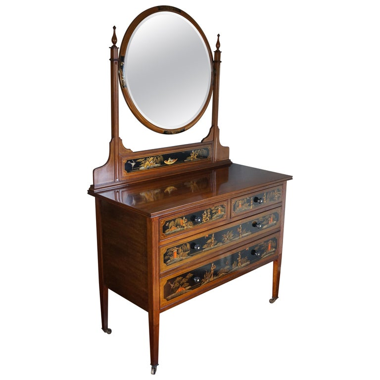 Antique Hand-Painted Mahogany Commode W. Beveled Vanity Mirror Chinoiserie Style For Sale