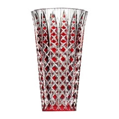 """Limited Edition Vase in French Hand-Cut Red Crystal """"Jaipur"""" by Saint Louis"""