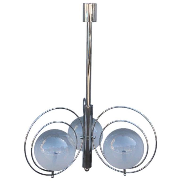 Pop Art Italian Chandelier Chrome Balls Murano Glass Italian Design 1970s Round For Sale