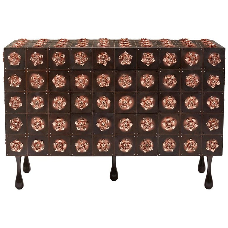 Copper and Burnished Steel, Contemporary Rosette Sideboard by Egg Designs For Sale
