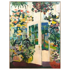 Original Midcentury Large Oil on Canvas Signed Painting of Flowers in Sunroom