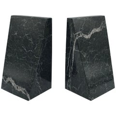 1970s Italian Modern Green and Black Marble Bookends, Pair
