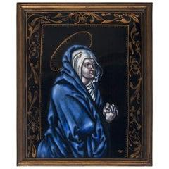 17th Century Emaille de Limoges Plaquette, Depicting Maria Magdalena