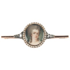 Antique Gold Hand-Painted Portrait Brooch