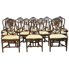Set of 12 Hepplewhite-Style Shield-Back Dining Chairs with Upholstered Slip Seat