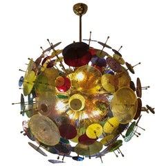 Multicolored Murano Glass Discs Chandelier 1980s