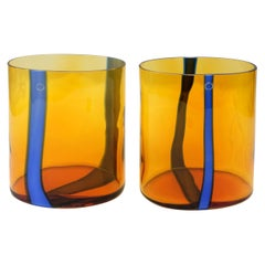 Amber and Blue Murano Glass Vase Set by V. Nason & C., Italy