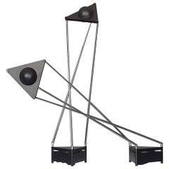 Sculptural Table Lamps, F.A. Porsche Black Plastic Chrome Metal Lucitalia, Pair