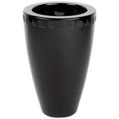 Post-Modern Black Crystal Vase by Ward Bennett for Sasaki