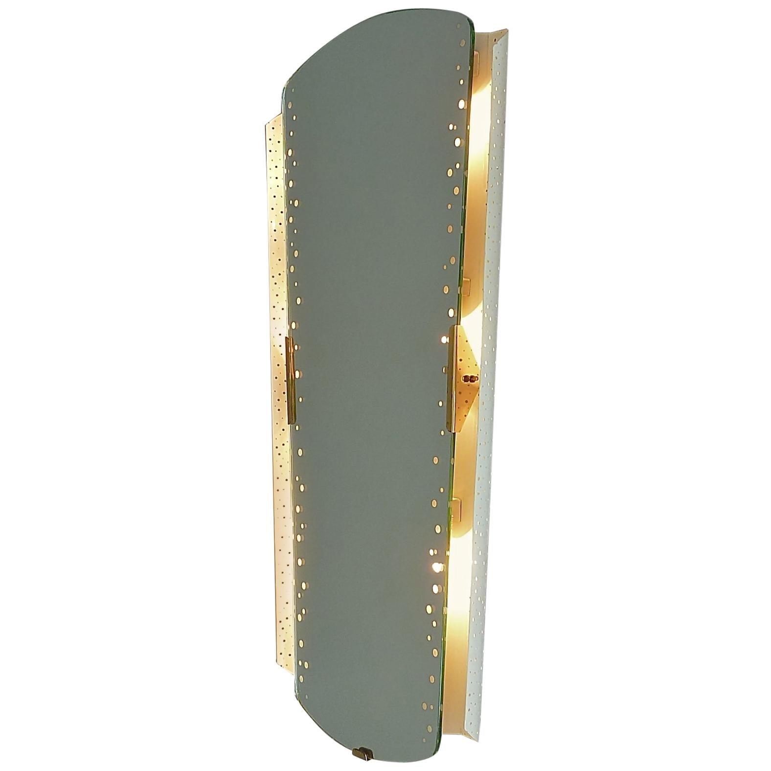 Large Illuminated Mirror Igl for Hillebrand White Enameled Brass Mategot Style