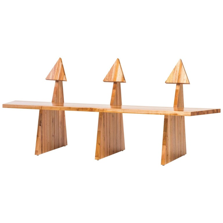 Contemporary Trio Bench 2 in Solid African Mahogany Wood Panels Brazilian Design For Sale