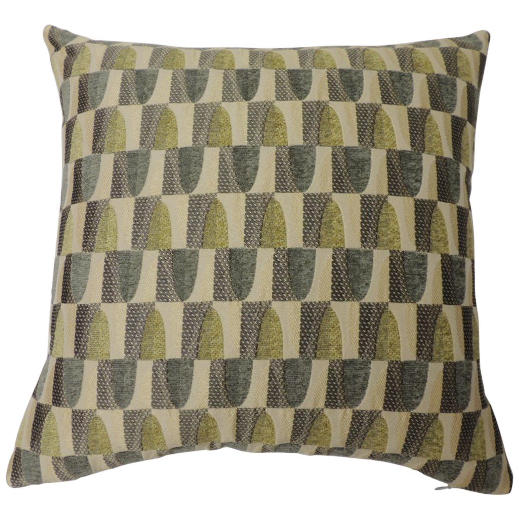 """Green and Natural """"Cityscape"""" Woven Decorative Pillow Two-Sided"""