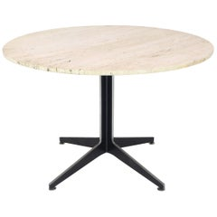 Round Travertine Top Fabricated Aluminium X-Base Cafe Dining Table