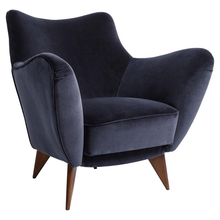 Guglielmo Veronesi for ISA 'Perla' Armchair in Navy Velvet, Italy, 1950s For Sale