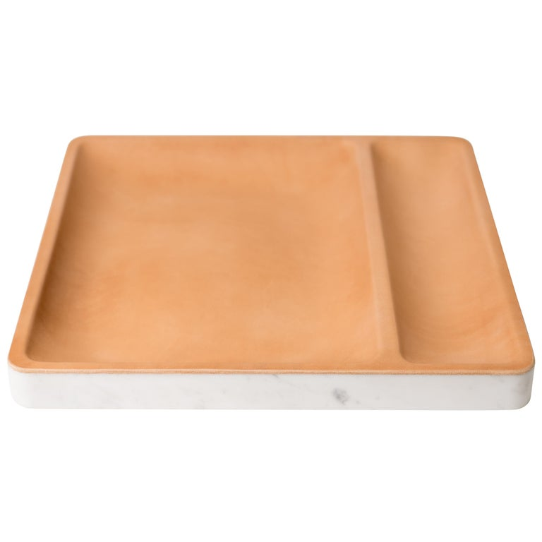Draft Tray: Straight, Marble and Leather table top valet tray For Sale