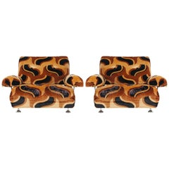 Pair of Mid-Century Modern Club Lounge Lounge Chairs after Verner Panton