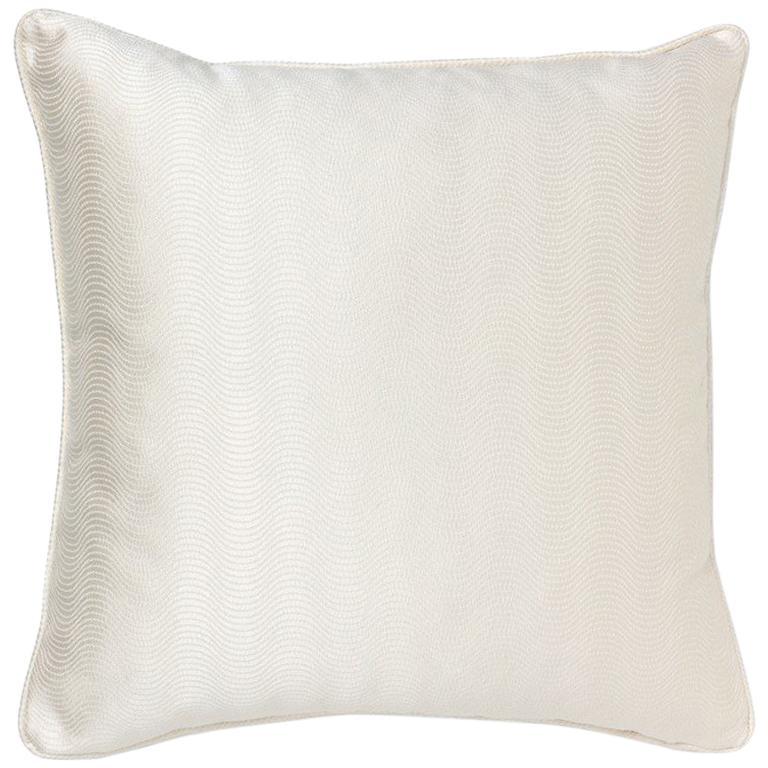 Brabbu Metropolis Pillow in White Linen with Geometric Pattern For Sale