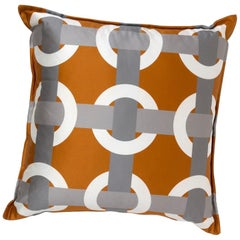 Brabbu Bowline Pillow in Orange Satin with Geometric Pattern