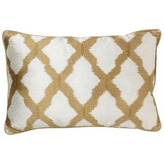 Brabbu Morocco Pillow in Gold Linen with Tile Pattern
