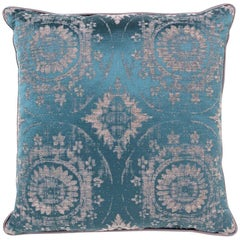 Brabbu Mandala Pillow in Blue Linen