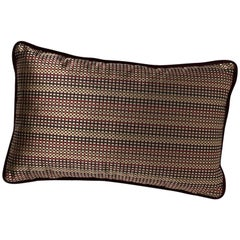 Brabbu Metropolis Pillow in Brown Linen with Geometric Pattern