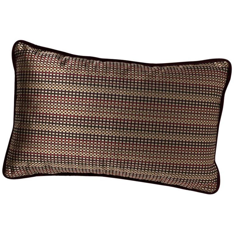 Brabbu Metropolis Pillow in Brown Linen with Geometric Pattern For Sale