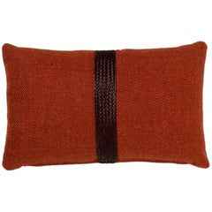 Brabbu Chraft Pillow in Burnt Orange Twill with Braided Detail