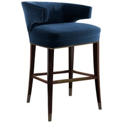 Brabbu Ibis Counter Stool in Blue Velvet with Brass Details