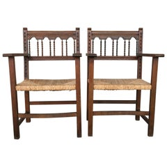 19th Spanish Colonial Altar Carved Armchairs with Caned Seat
