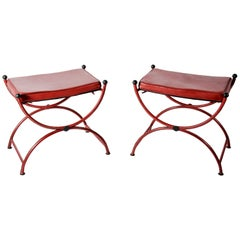 Pair of Neoclassical Stools in Stitched Leather by Jacques Adnet