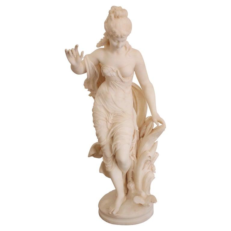 """19th Century Fausto Biggi Carrara Marble Sculpture """"Summer"""" For Sale"""