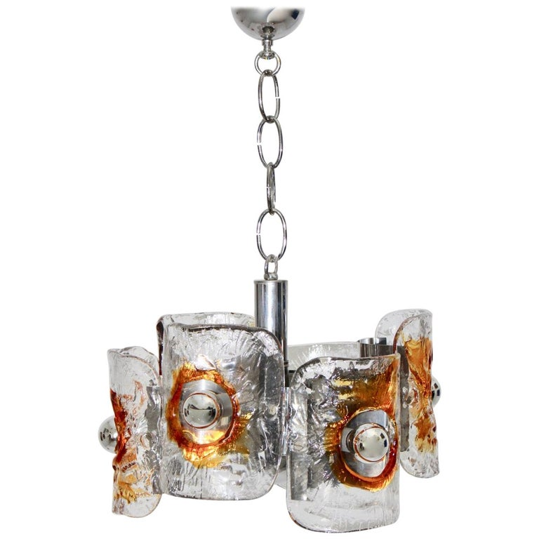 Mid Century Modern Vintage Glass Chandelier Mazzega Chandelier, Italy, 1970 For Sale