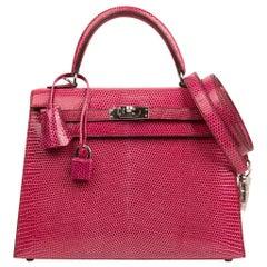 Hermes Kelly 25 Bag Sellier Fuschia Pink Lizard Palladium