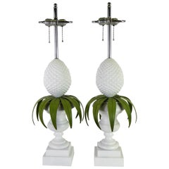 Pair 1970s Lacquered Pineapple Topiary Table Lamps by Norman Perry Inc.