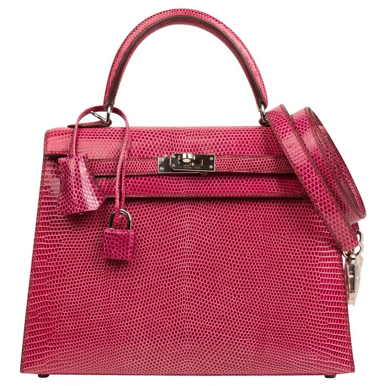 Hermes Kelly 25 Bag Sellier Fuschia Pink Lizard Palladium For Sale