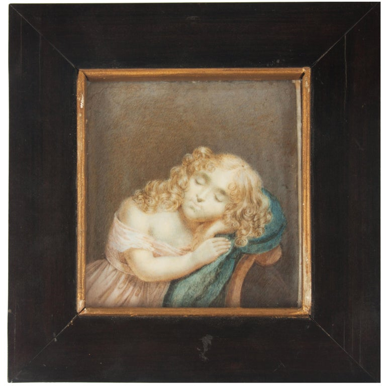 Early 19th Century Painted Miniature Depicting Nicolette Six For Sale