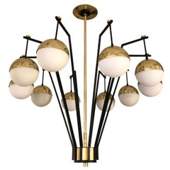 Ten Globe Chandelier in the Manner of Stilnovo