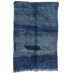 Vintage Blue Indigo Beni M'Guild Moroccan Rug with Post-Modern Style