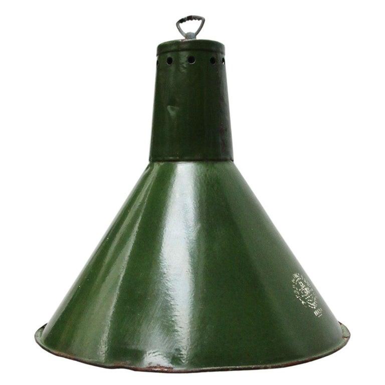 Green Enamel Vintage Industrial Pendant Lights For Sale