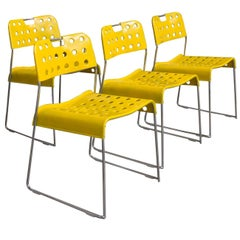 1971, Rodney Kinsman, Set of Rare Yellow Omstak Stacking Chairs