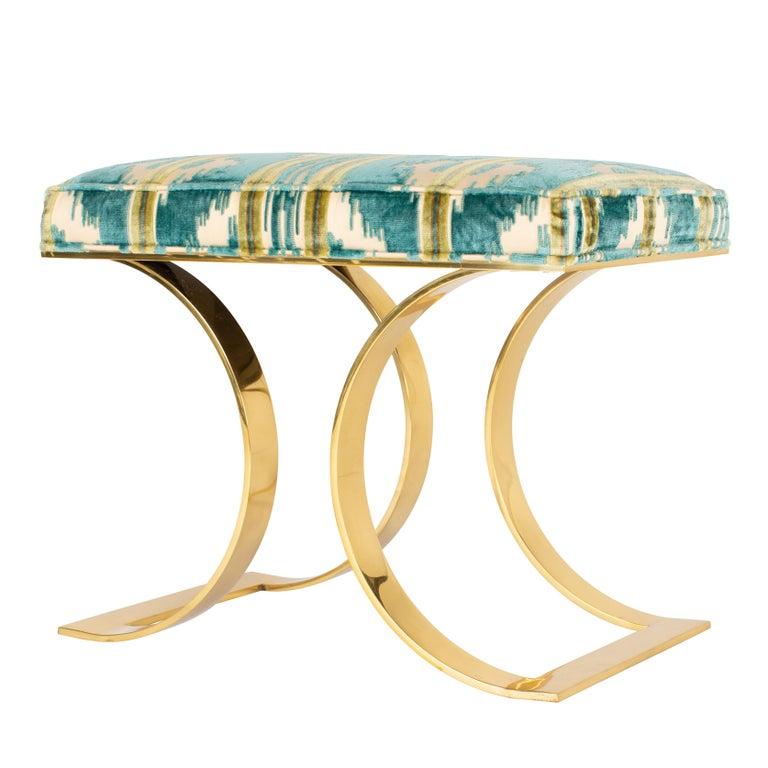 "Karl Springer ""J.M.F. Curved Bench"" in Brass For Sale"