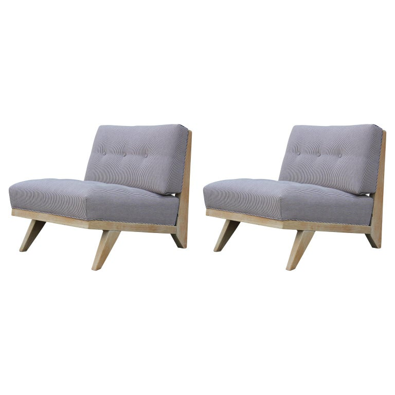 Pair of Modern Blue and White Striped Bleached Tiger Oak Slipper Lounge Chairs For Sale
