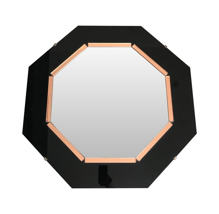 Black Glass and Rose Mirror  Art Deco Style Octagonal Mirror For Sale