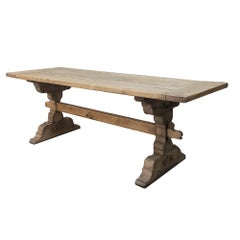 19th Century Country French Provincial Stripped Oak Trestle Table