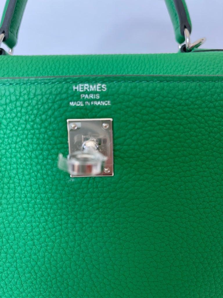 Hermes Kelly 25 Bamboo Bag Togo Palladium For Sale 5