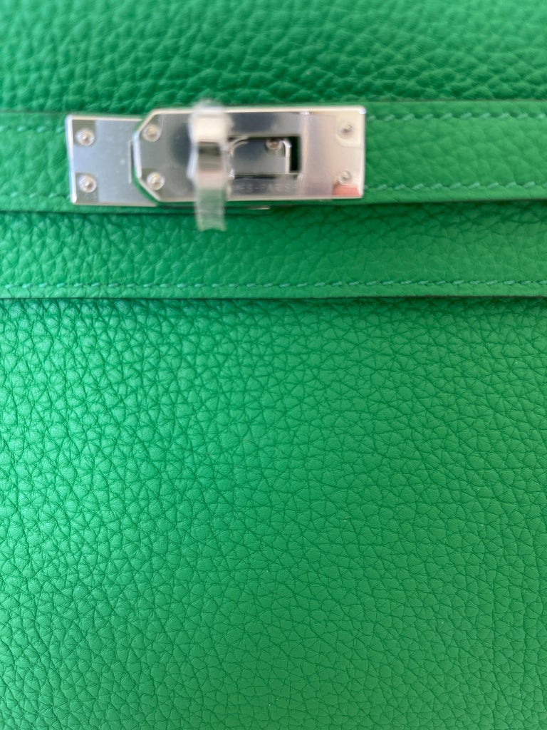 Hermes Kelly 25 Bamboo Bag Togo Palladium For Sale 6