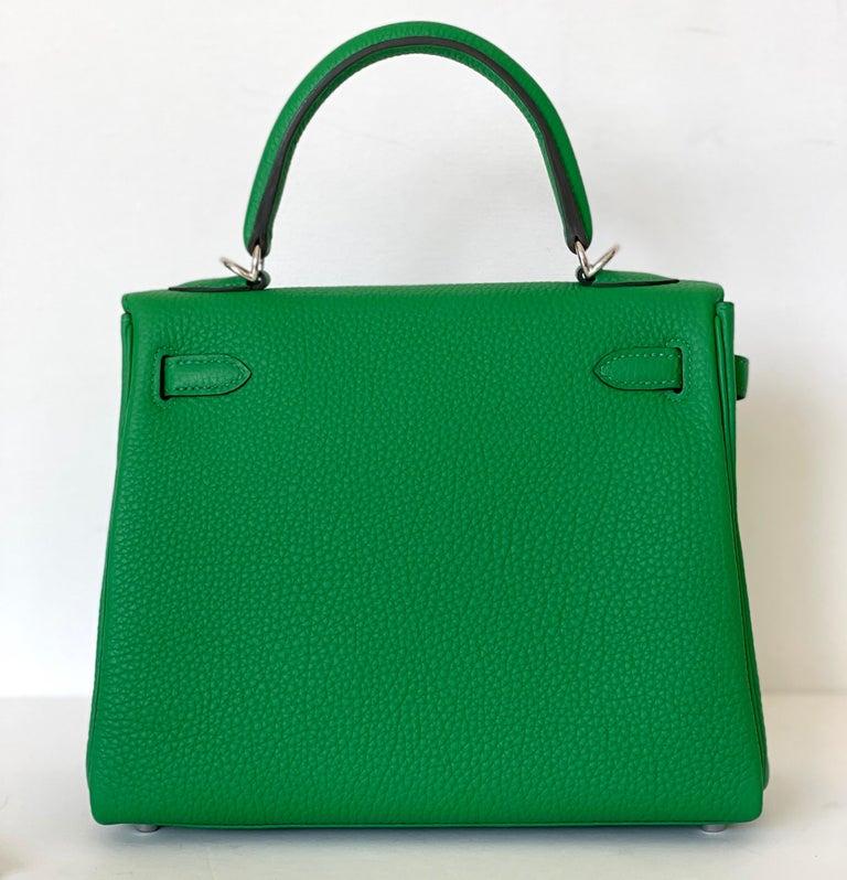 Hermes Kelly 25 Bamboo Bag Togo Palladium For Sale 7