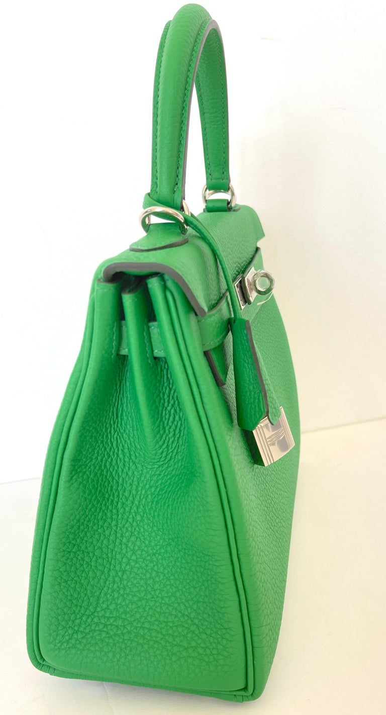 Hermes Kelly 25 Bamboo Bag Togo Palladium In New Condition For Sale In Delray Beach, FL